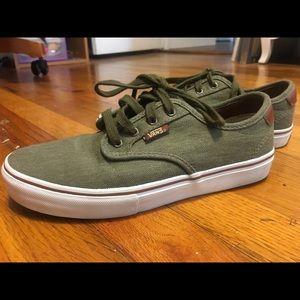 Gently used green vans skate shoe